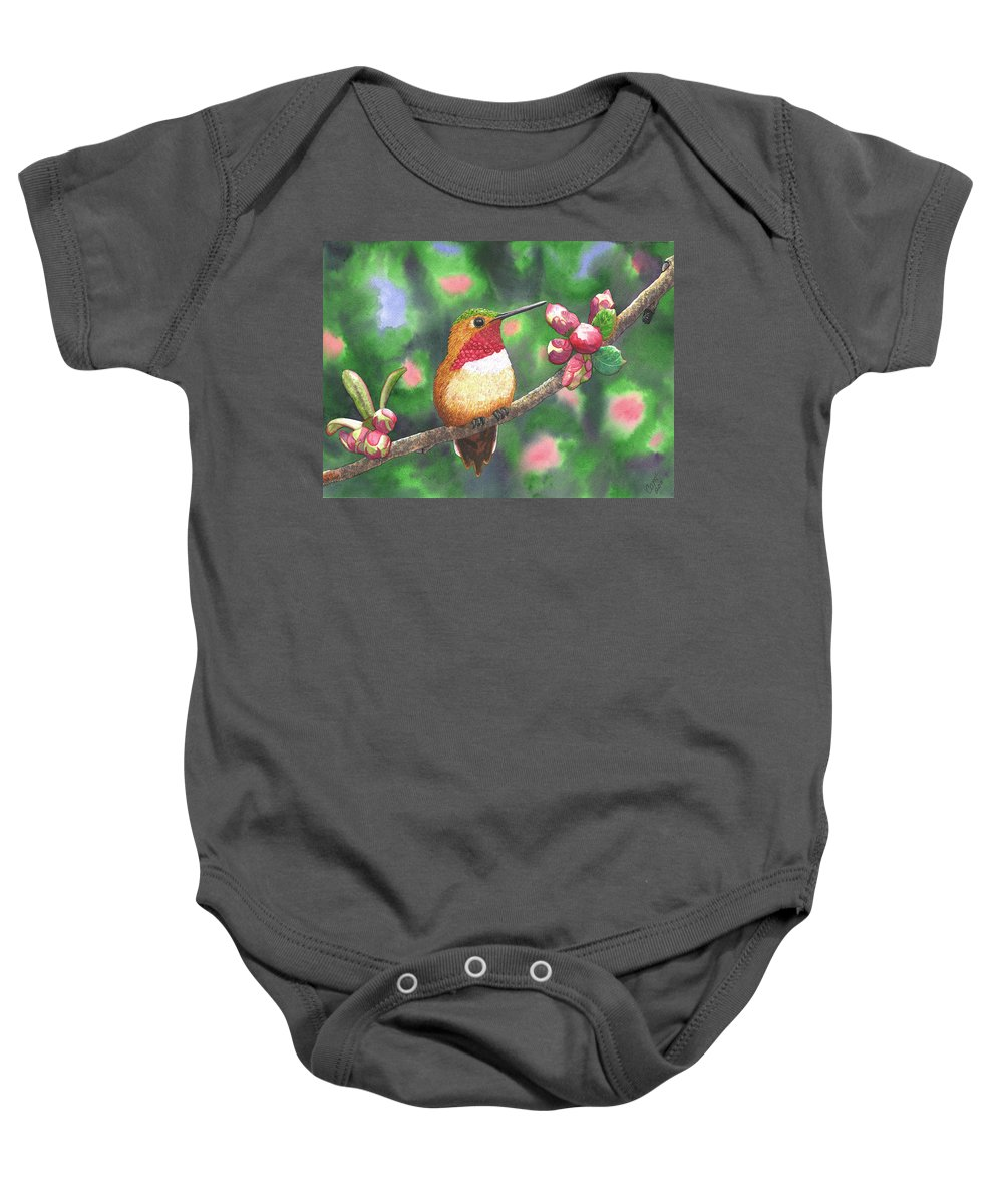 Hummingbird Baby Onesie featuring the painting Hummy by Catherine G McElroy