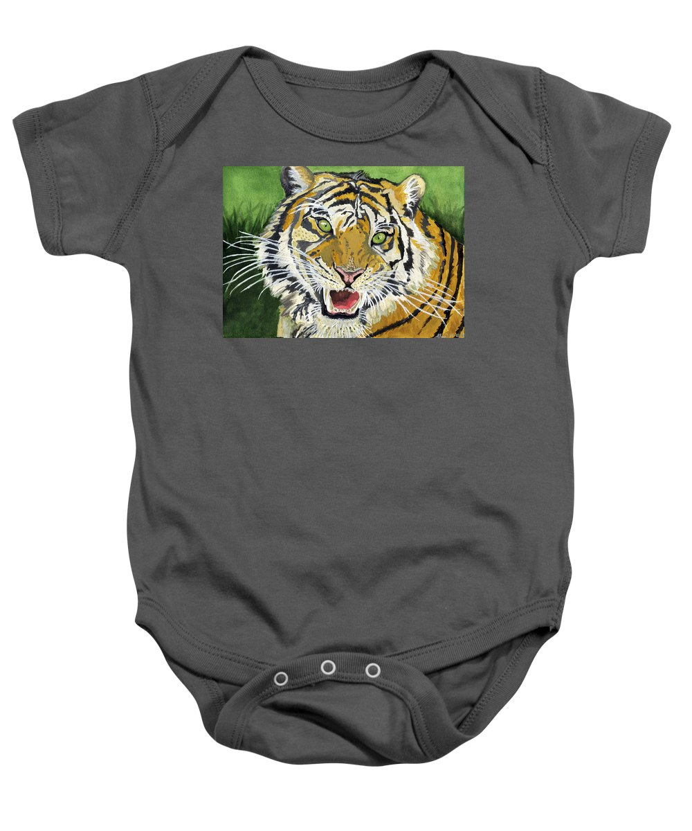 Tiger Baby Onesie featuring the painting Hungry Tiger by Alban Dizdari