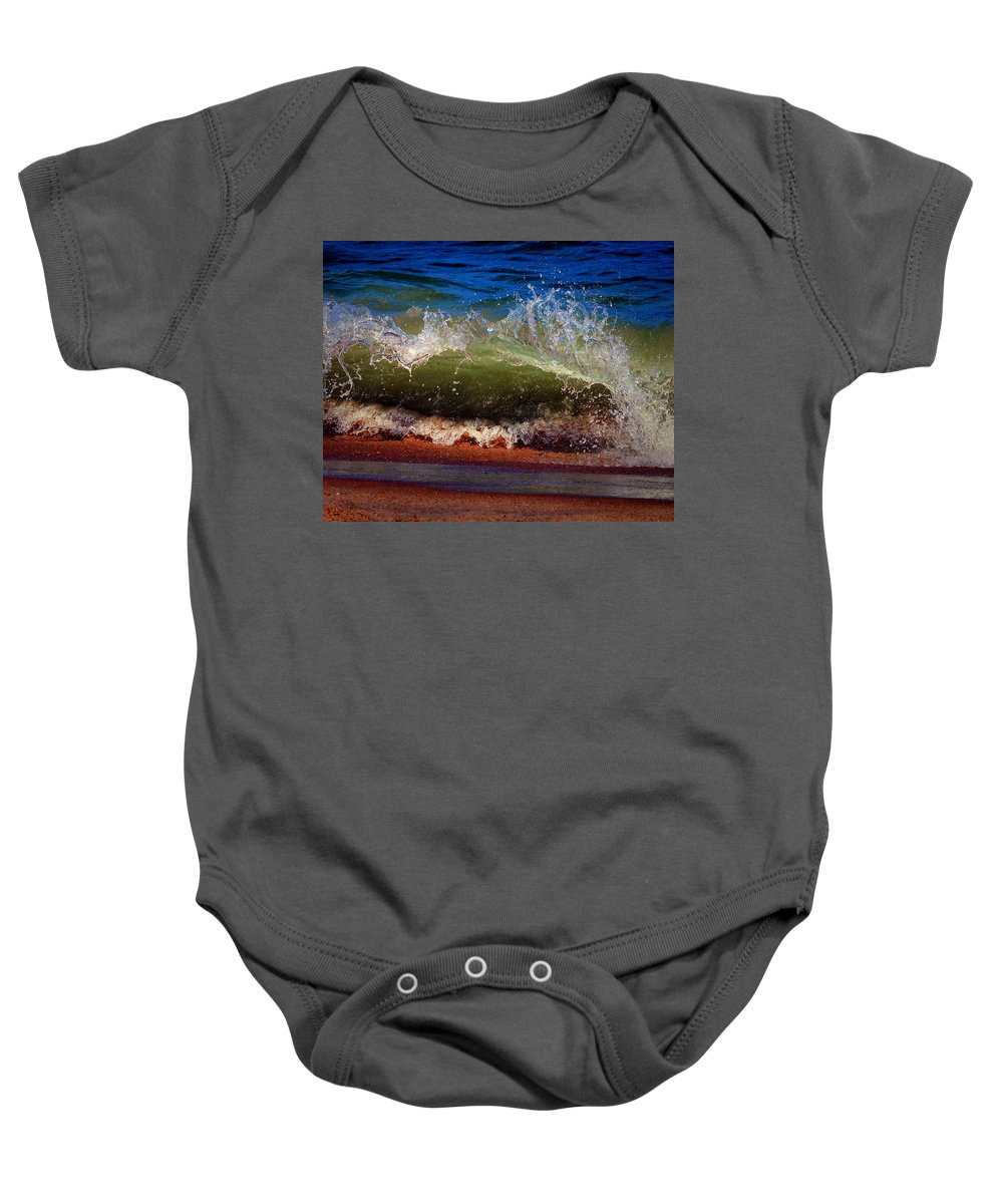 Wave Baby Onesie featuring the photograph Hungry Wave Of Fenwick Island by Bill Swartwout Fine Art Photography