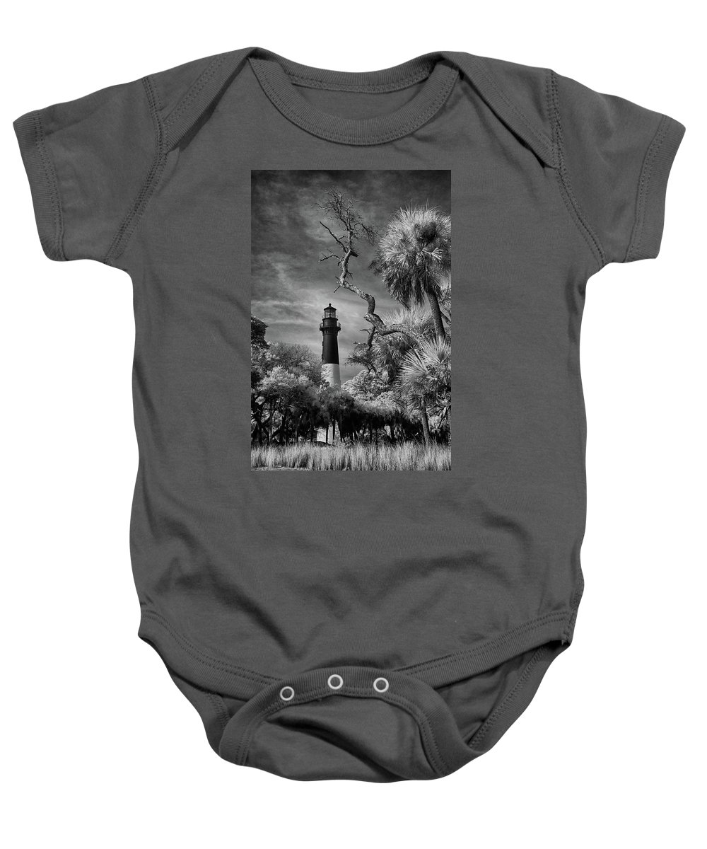 Hunting Island Baby Onesie featuring the photograph Hunting Island Lighthouse by Jurgen Lorenzen