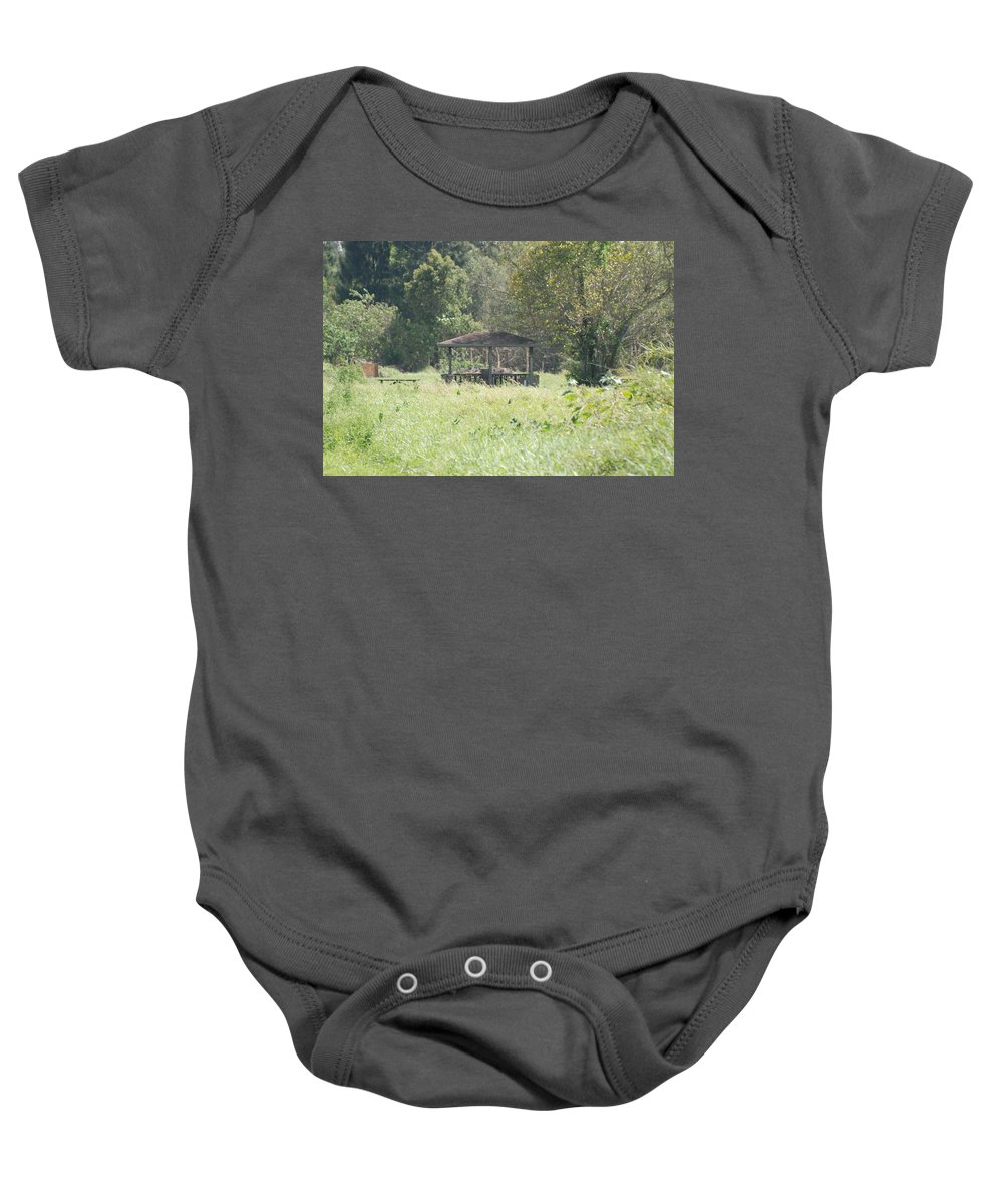 Grass Baby Onesie featuring the photograph Huppa In The Fields by Rob Hans