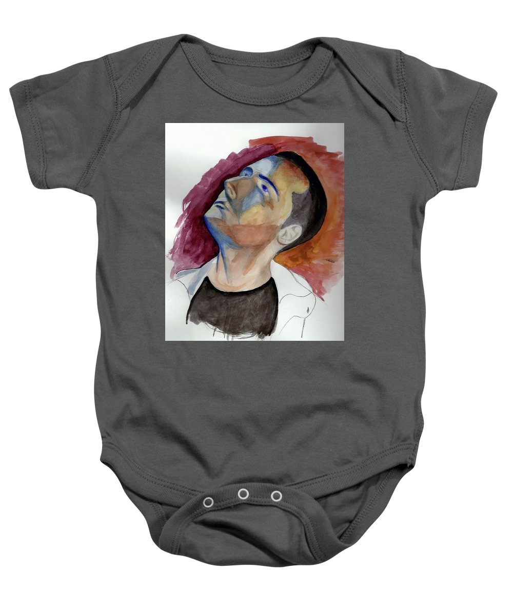 Portrait Baby Onesie featuring the painting I Am by Andrew Fedosii