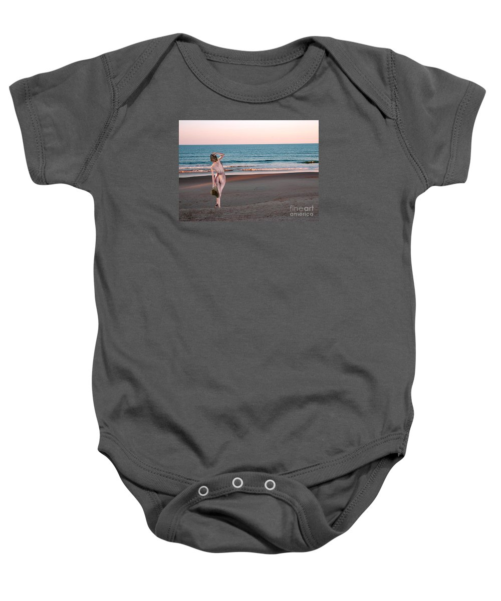 Beach Nude Baby Onesie featuring the photograph I Am Most Content by Broken Soldier