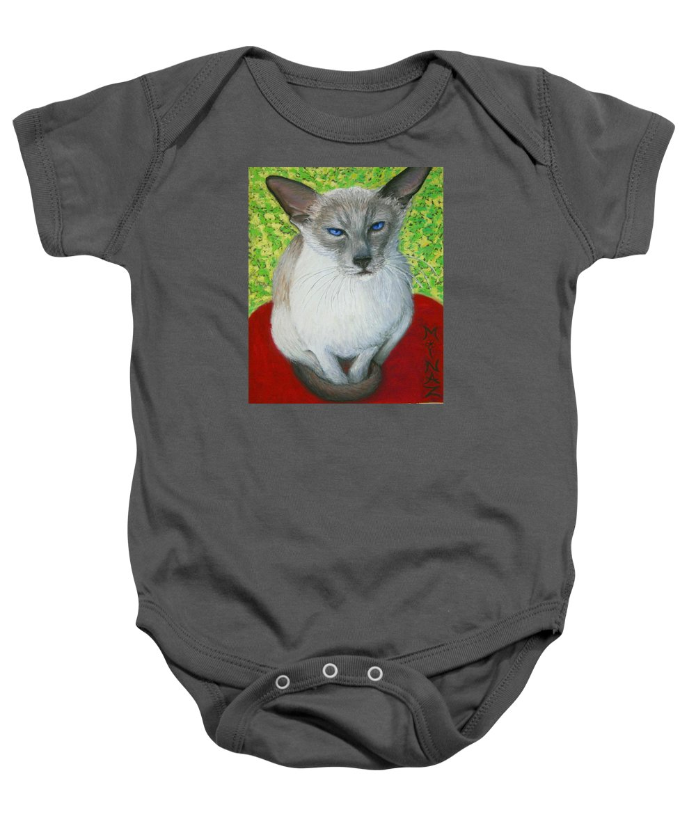 Siamese Baby Onesie featuring the painting I Am Siamese If You Please by Minaz Jantz