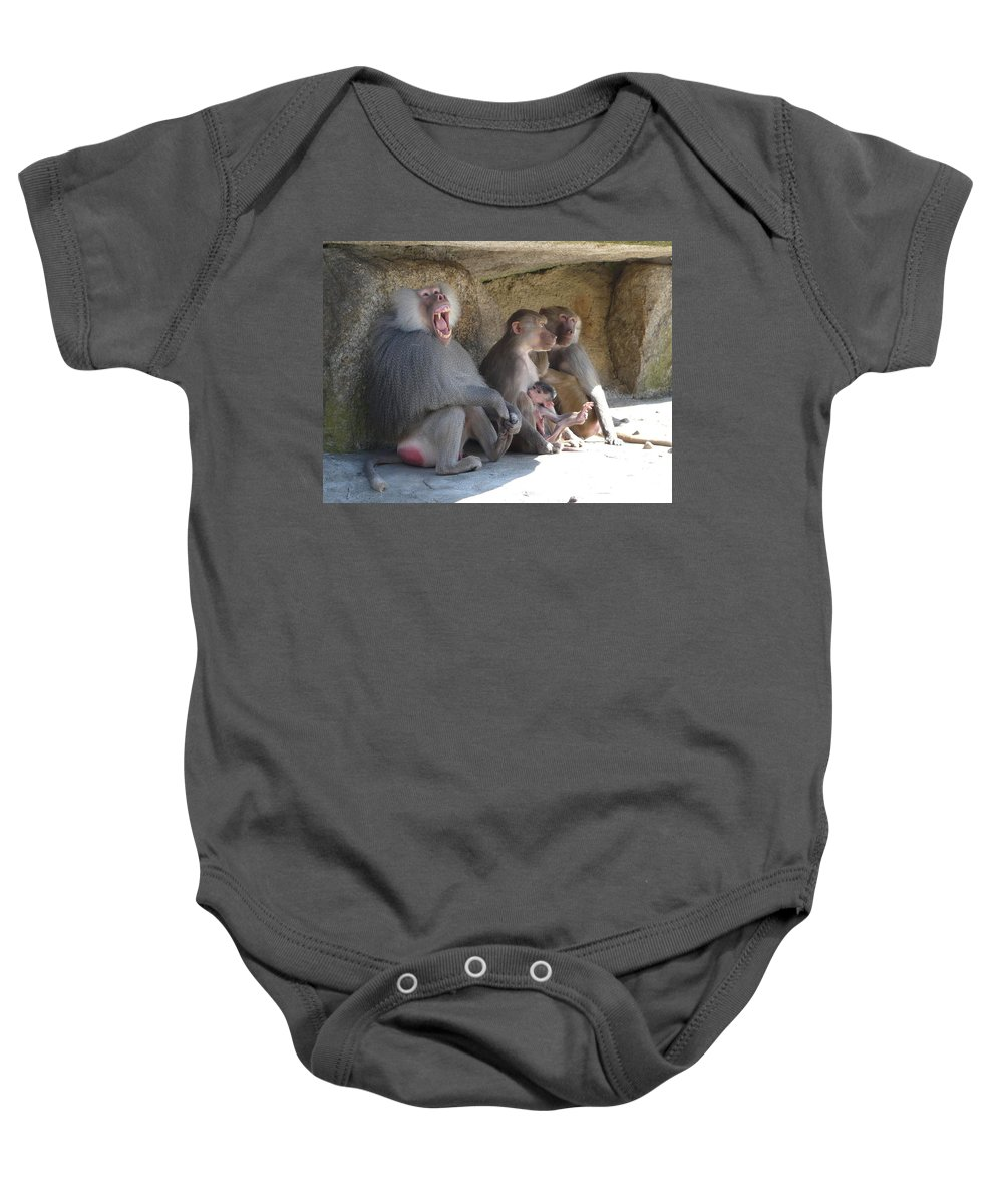 Animal Baby Onesie featuring the photograph I Am The King Here by Valerie Ornstein