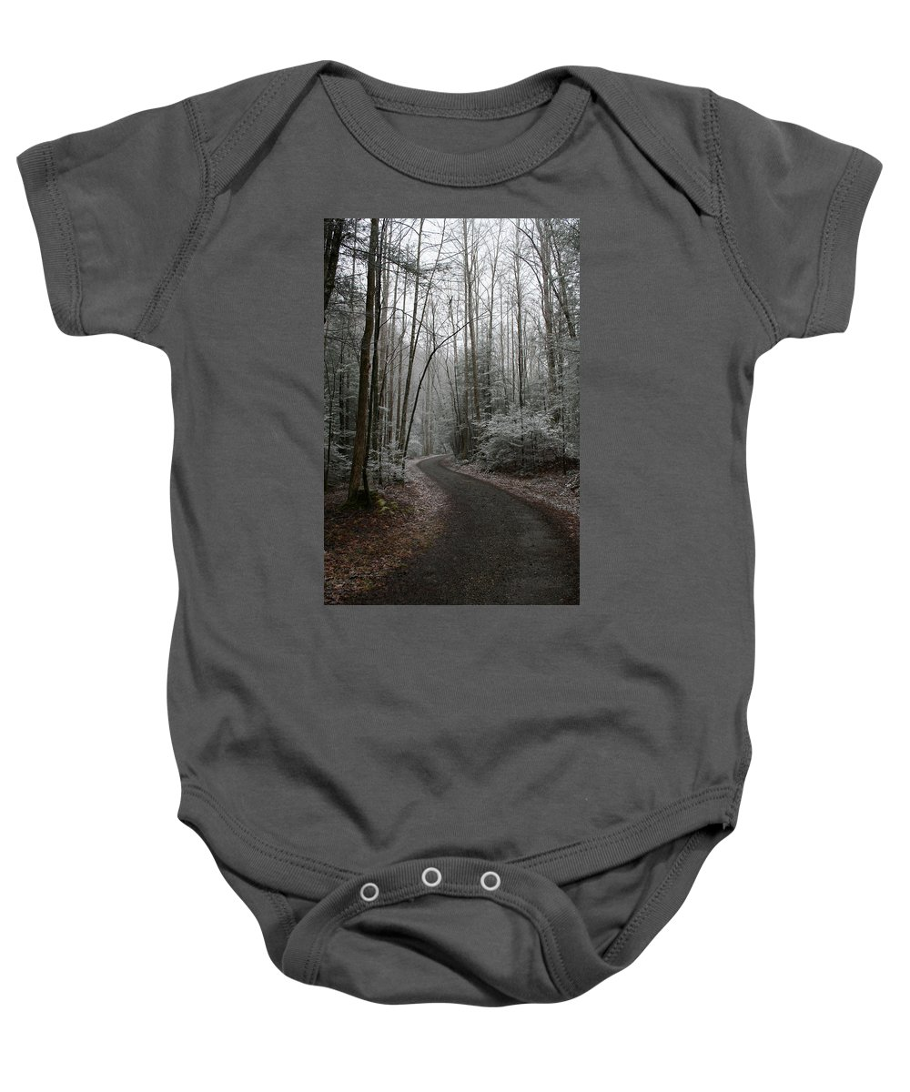 Nature Road Country Woods Forest Tree Trees Snow Winter Peaceful Quite Path White Forest Drive Baby Onesie featuring the photograph I Am The Way by Andrei Shliakhau