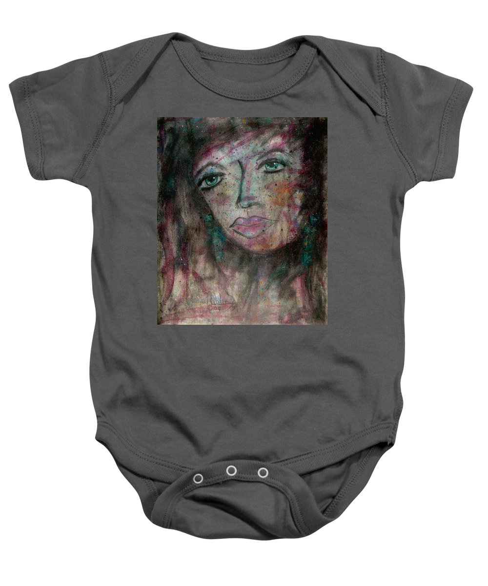 Expressionism Baby Onesie featuring the painting I Am Thinking Of You by Natalie Holland