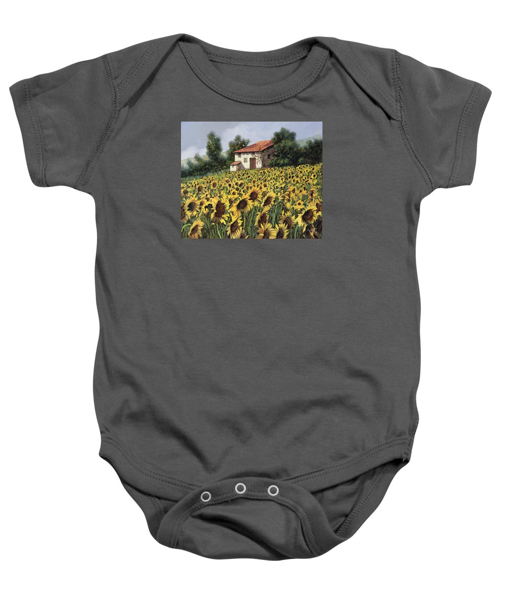Tuscany Baby Onesie featuring the painting I Girasoli Nel Campo by Guido Borelli