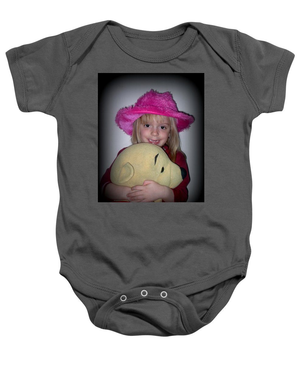 Girl Baby Onesie featuring the pyrography I Love Pooh Bear by Davis FlowerPower