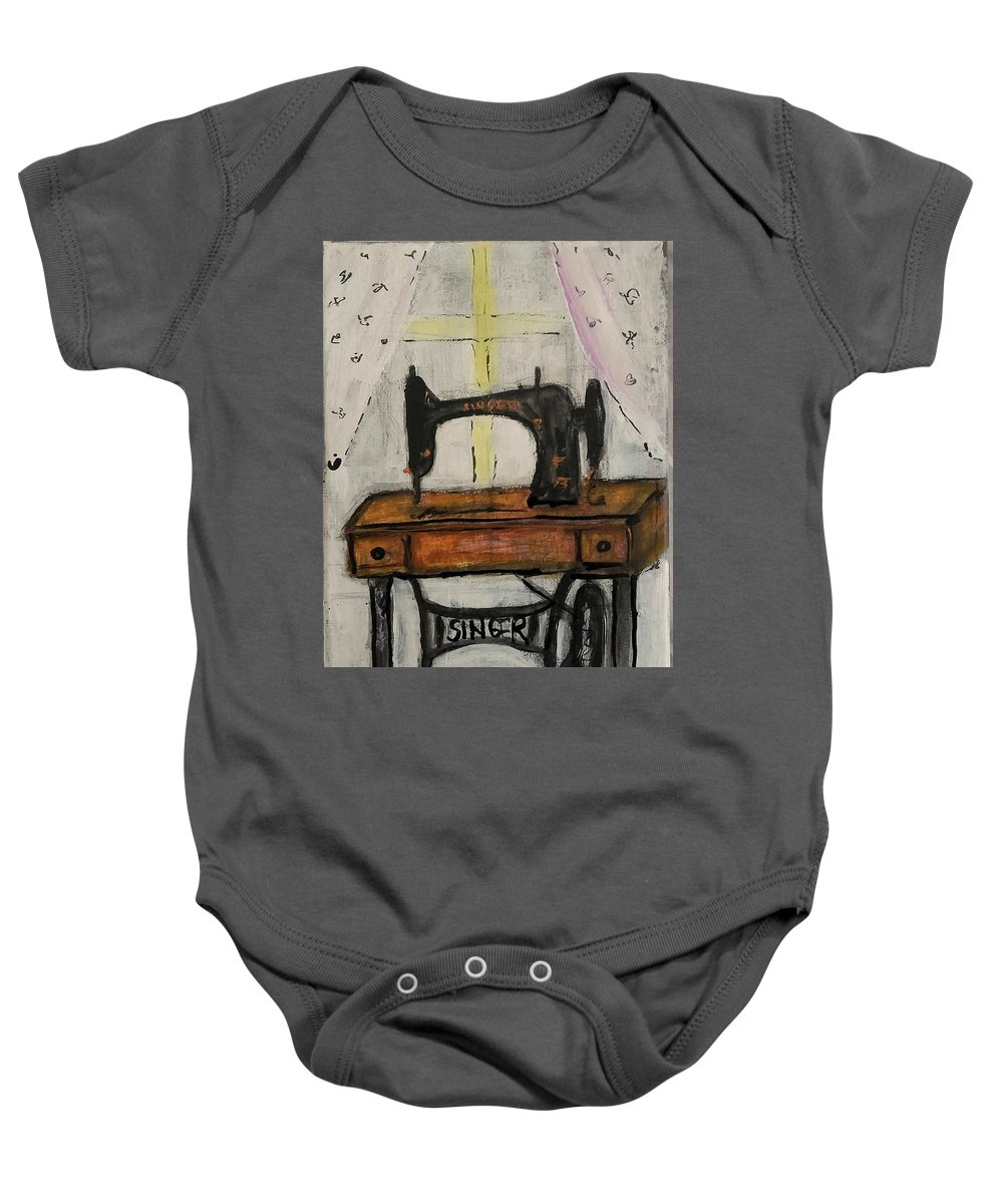 Baby Onesie featuring the painting I Miss You Mum by Vanja Skrobica