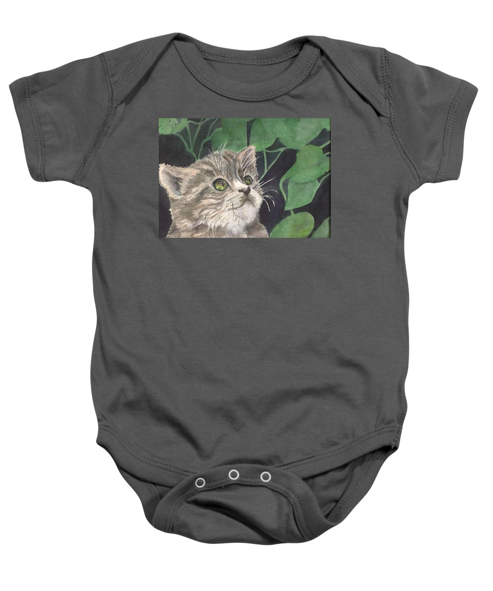 The Eyes Show What He Is Hunting. Cat Baby Onesie featuring the painting I See You by Charme Curtin
