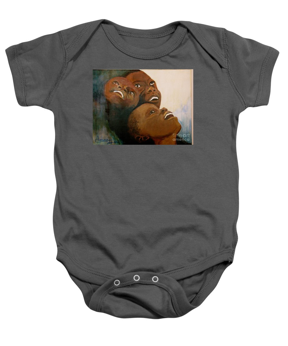 Bahamas Baby Onesie featuring the painting I Will Lift Up My Eyes by Donna Steward
