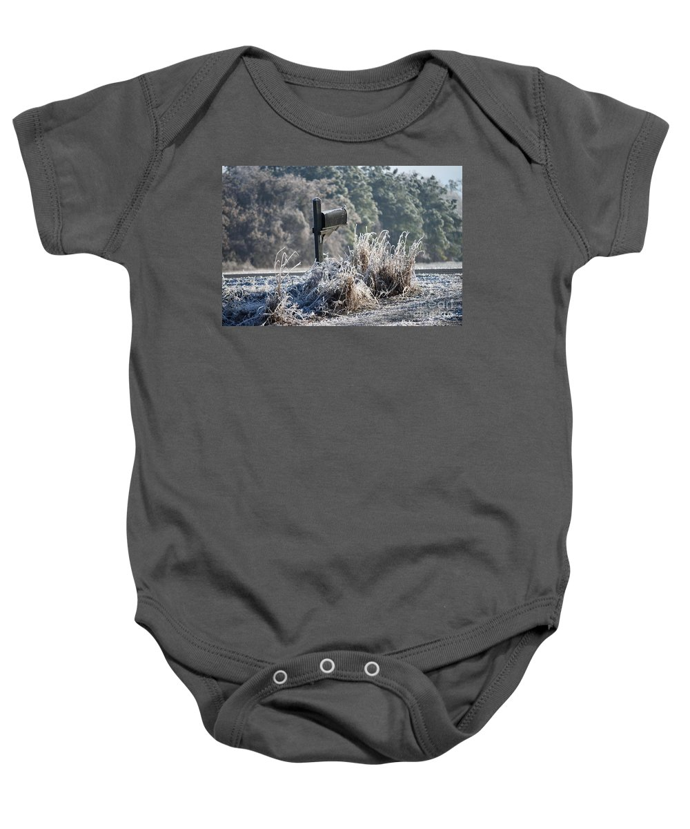 Rural Baby Onesie featuring the photograph Ice Box by Renee Sosanna Olson