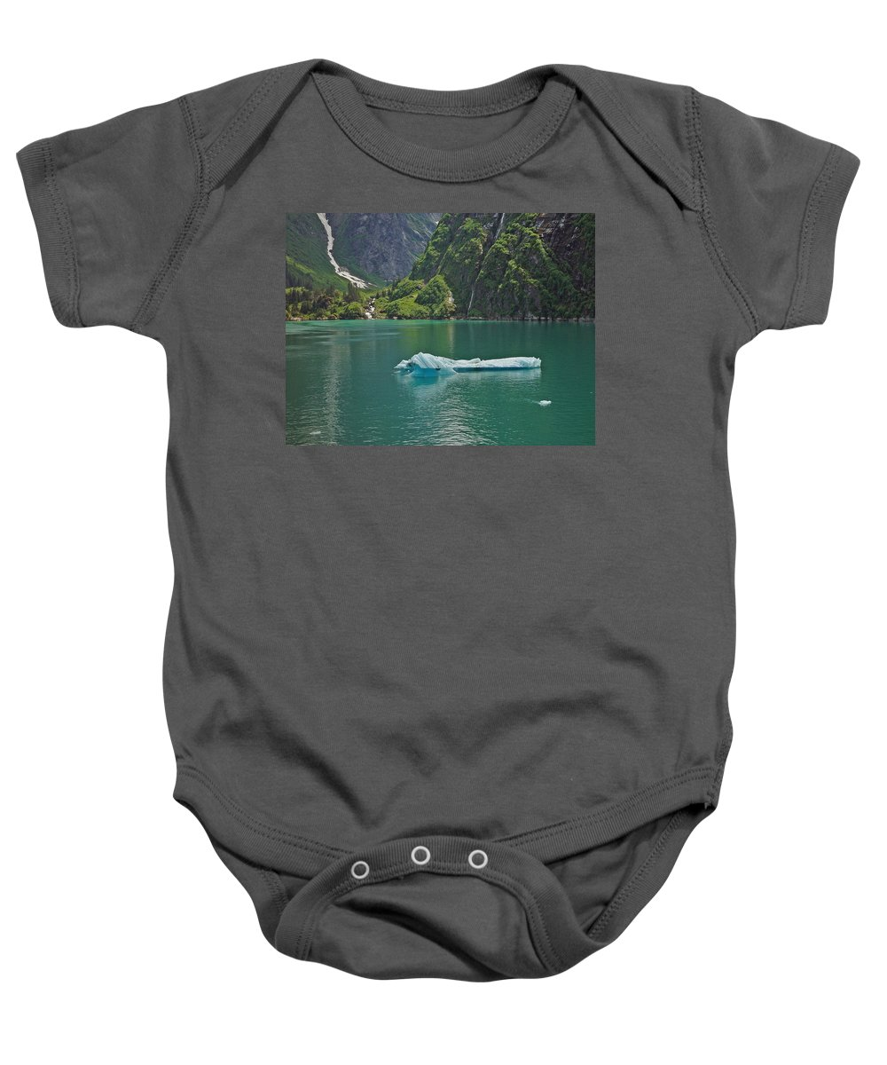Iceburg Baby Onesie featuring the photograph Ice Tracy Arm Alaska by Heather Coen