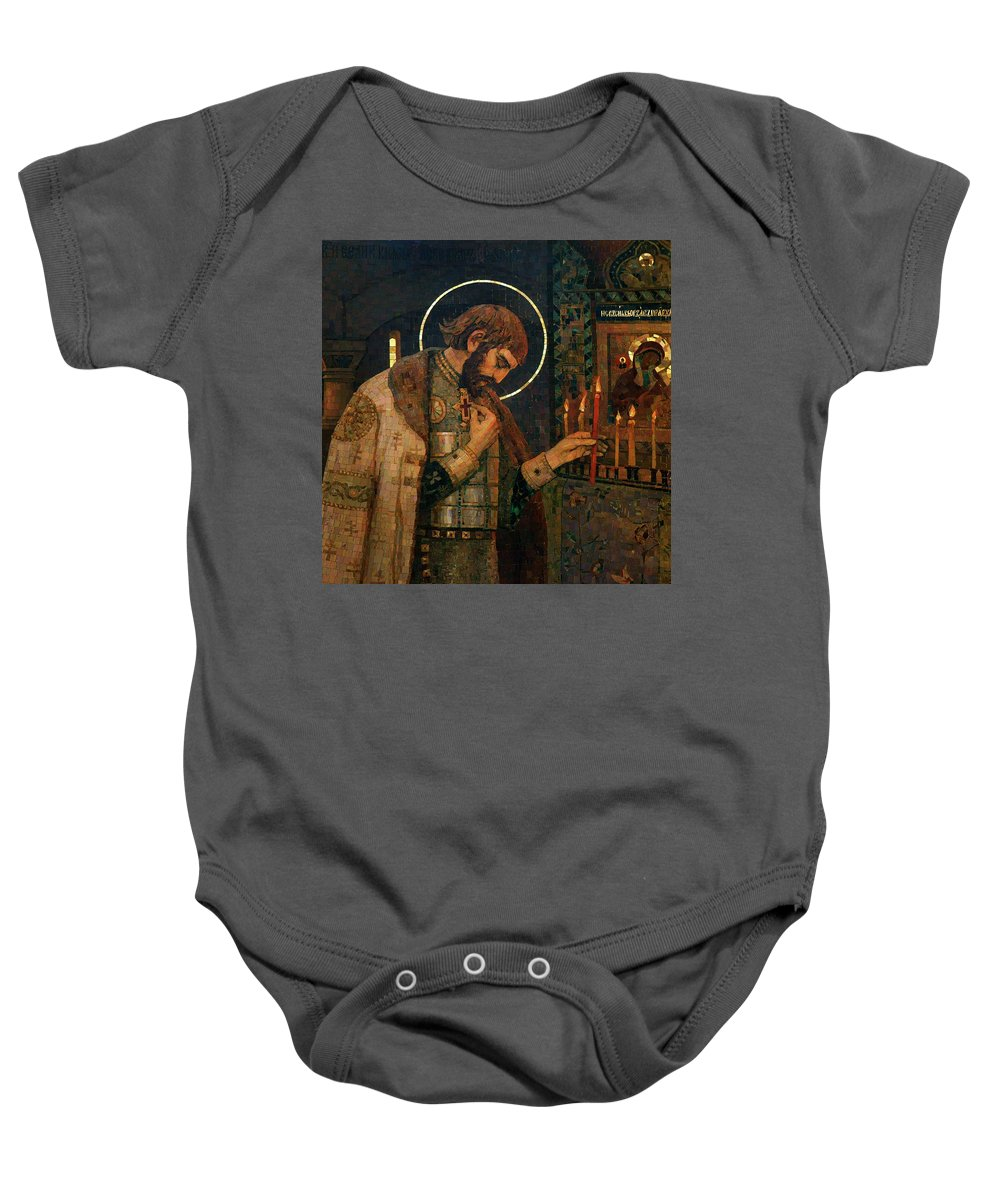 Saint Baby Onesie featuring the photograph Icon Of Reverend Prince Alexander Nevsky. Saint Petersburg by David Lyons