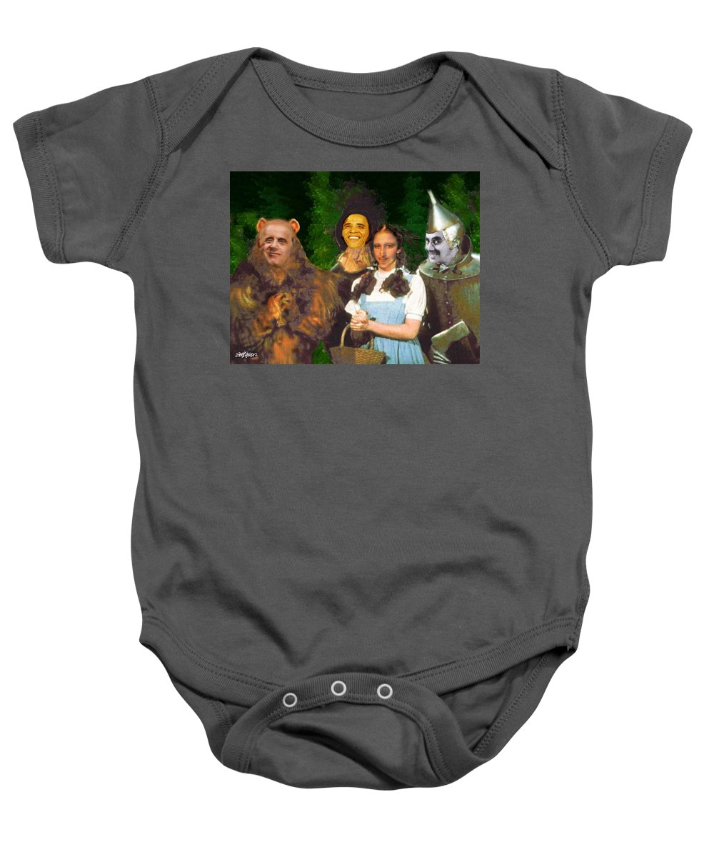 If I Only Had A Brain Baby Onesie featuring the digital art If I Only Had a Brain by Seth Weaver