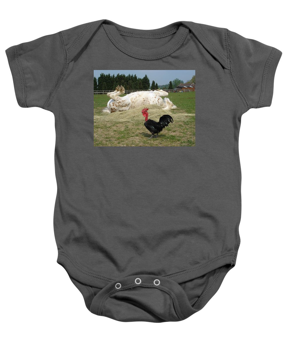 Pony Baby Onesie featuring the photograph If Looks Could Kill by Susan Baker