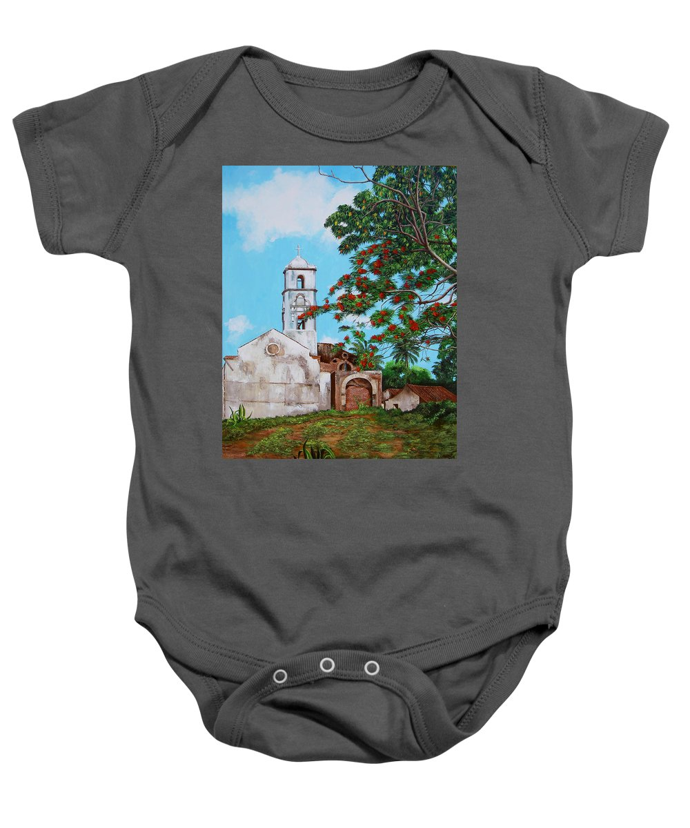 Cuban Painter Baby Onesie featuring the painting Iglesia De Santa Anna by Dominica Alcantara