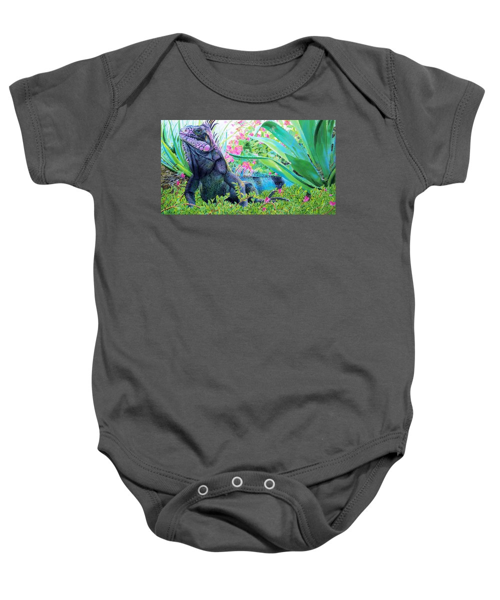 Lizard Baby Onesie featuring the painting Iguana by Denny Bond