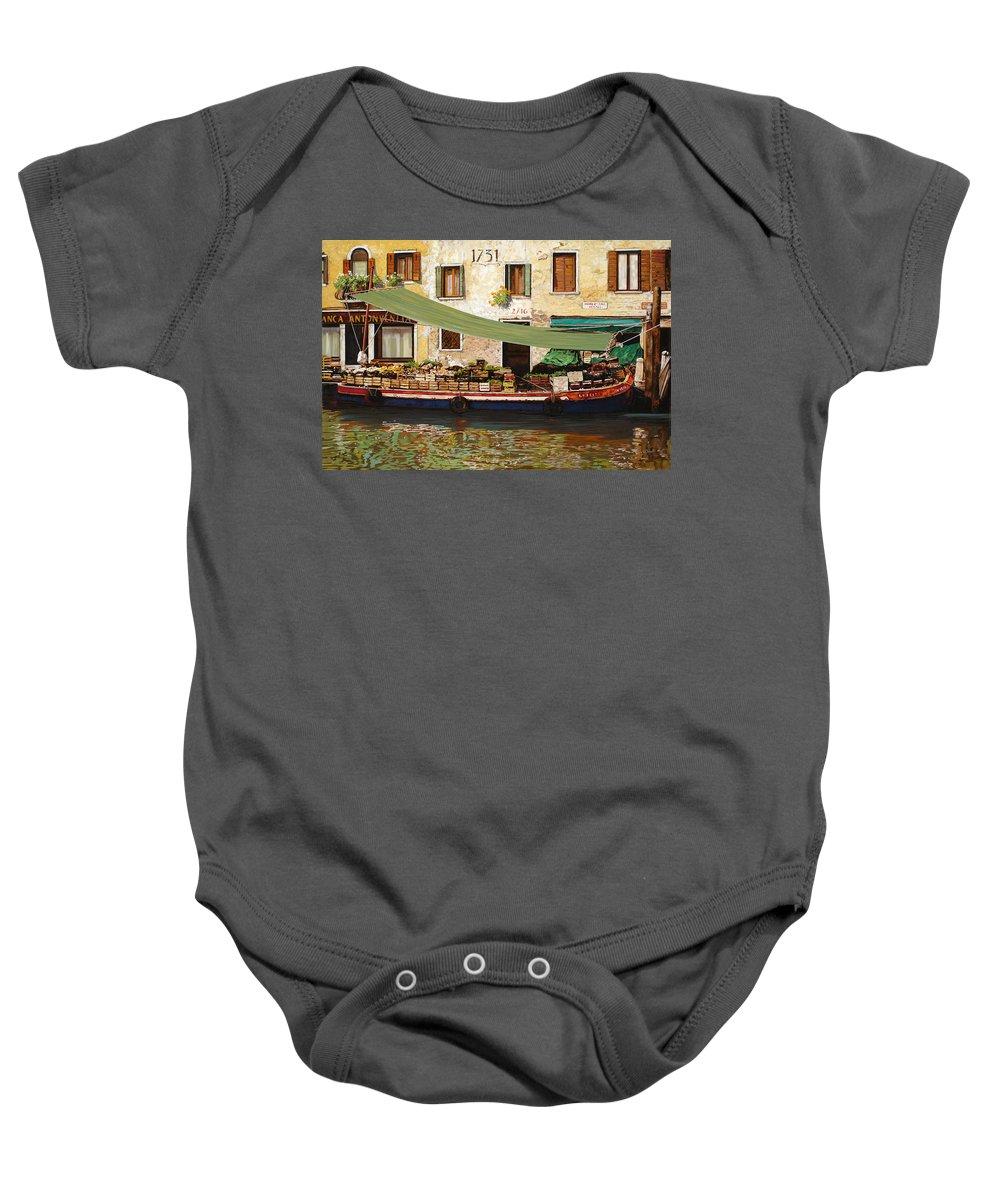 Venice Baby Onesie featuring the painting il mercato galleggiante a Venezia by Guido Borelli
