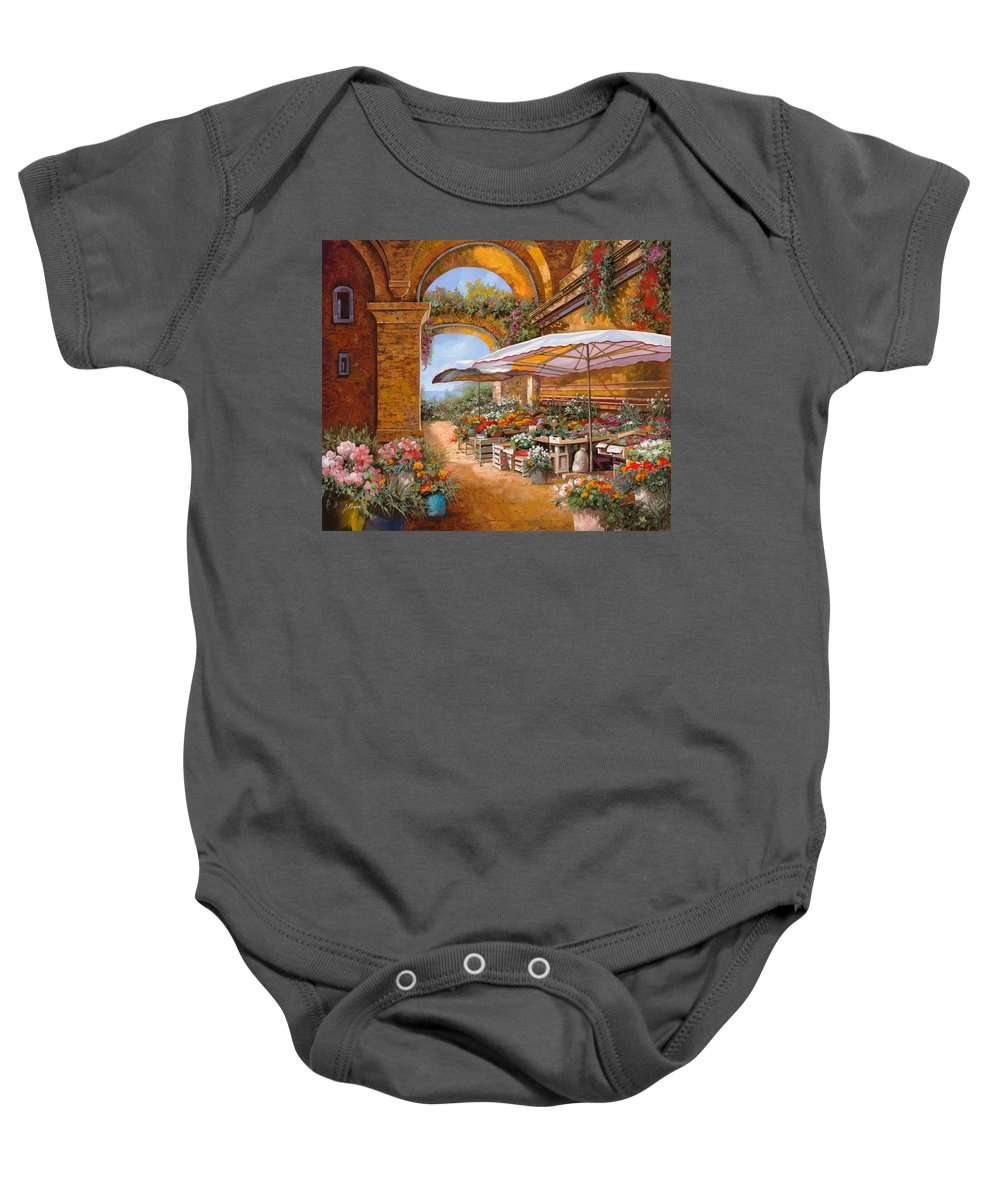 Market Baby Onesie featuring the painting Il Mercato Sotto I Portici by Guido Borelli