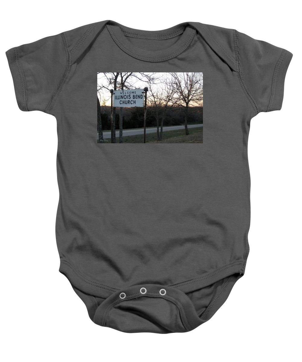 Church Baby Onesie featuring the photograph Illinois Bend Church Sign by Amy Hosp