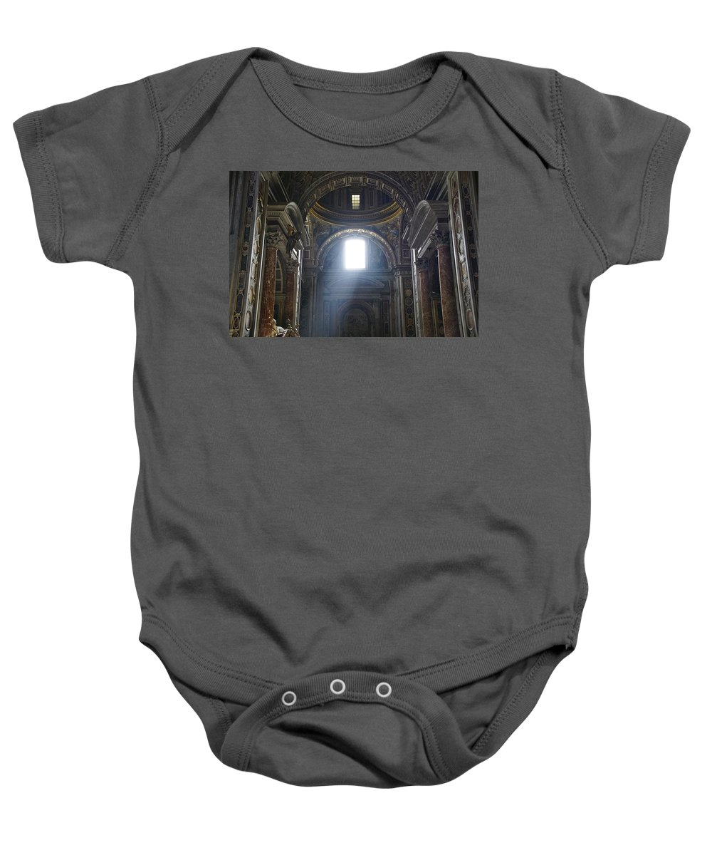 St. Peter's Basilica Baby Onesie featuring the photograph Illumination by Brian Kamprath