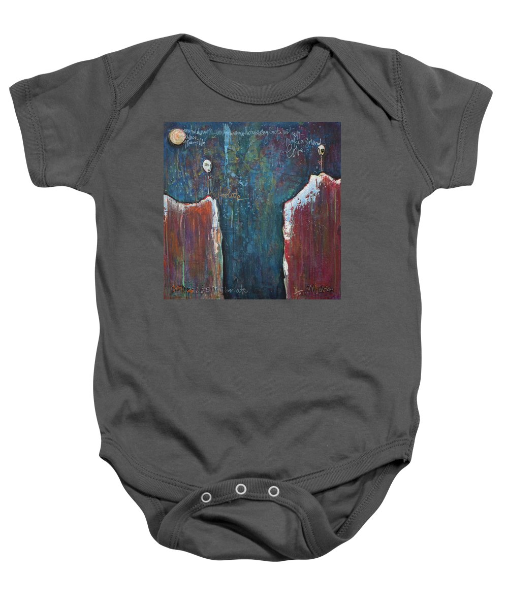 Lollipops Baby Onesie featuring the painting I'm Holding On by Laurie Maves ART