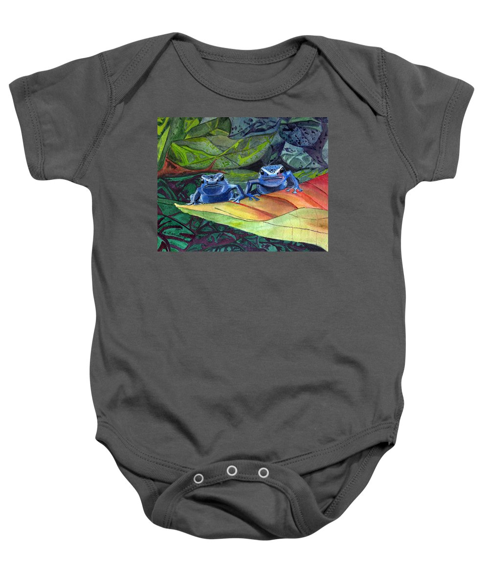 Rainforest Baby Onesie featuring the painting I'm In Love With A Big Blue Frog by CB Woodling