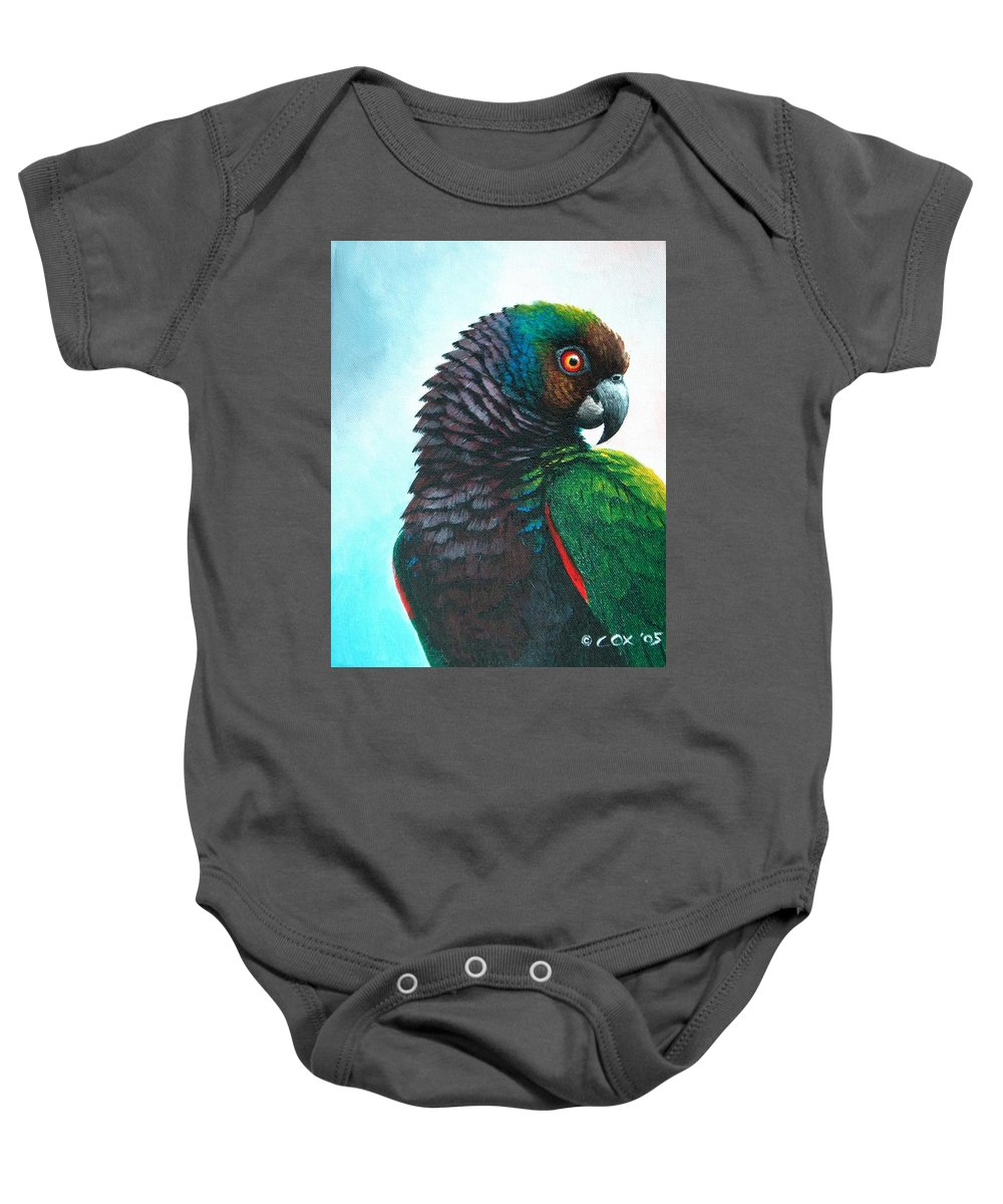 Chris Cox Baby Onesie featuring the painting Imperial Parrot by Christopher Cox