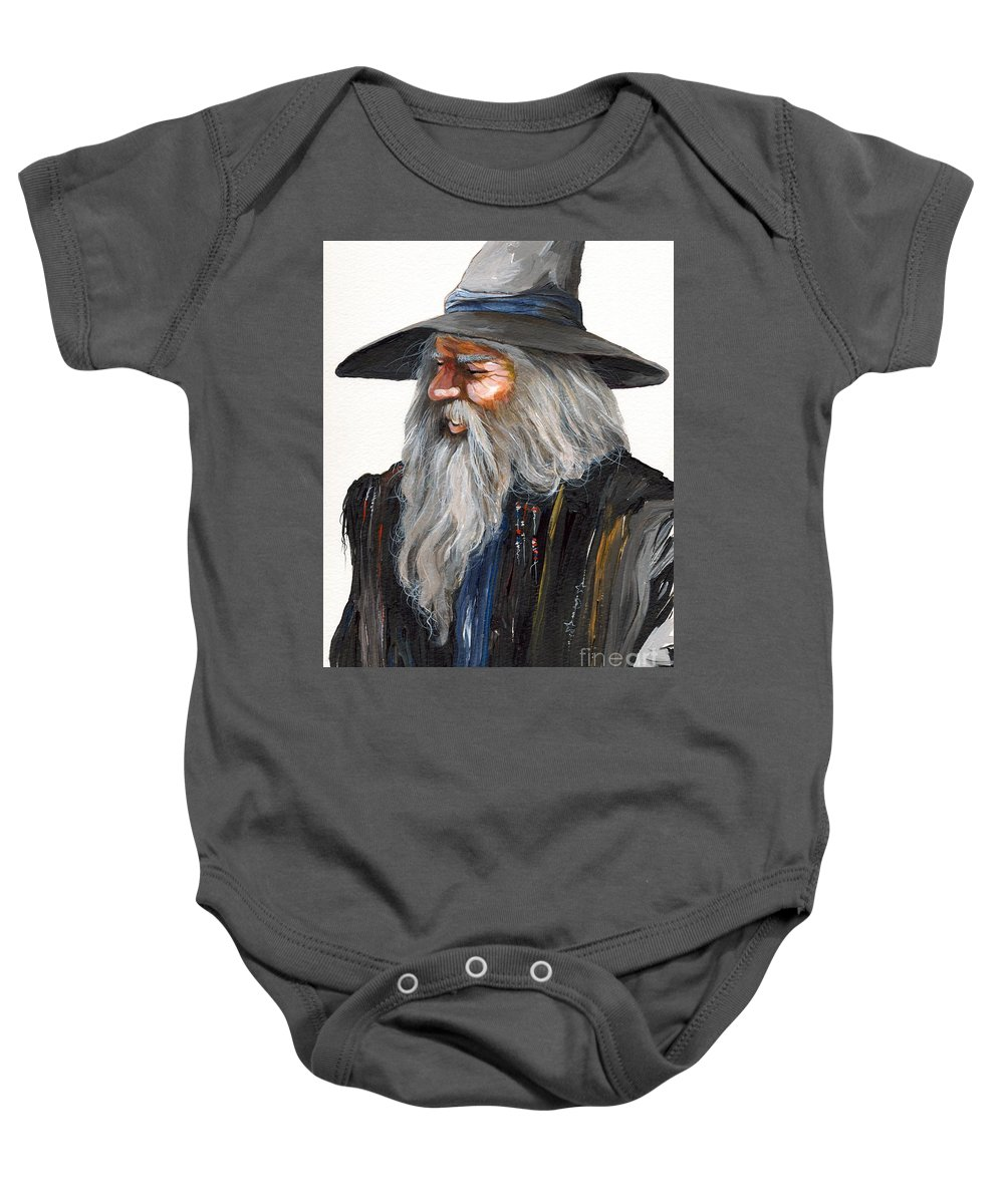 Fantasy Art Baby Onesie featuring the painting Impressionist Wizard by J W Baker