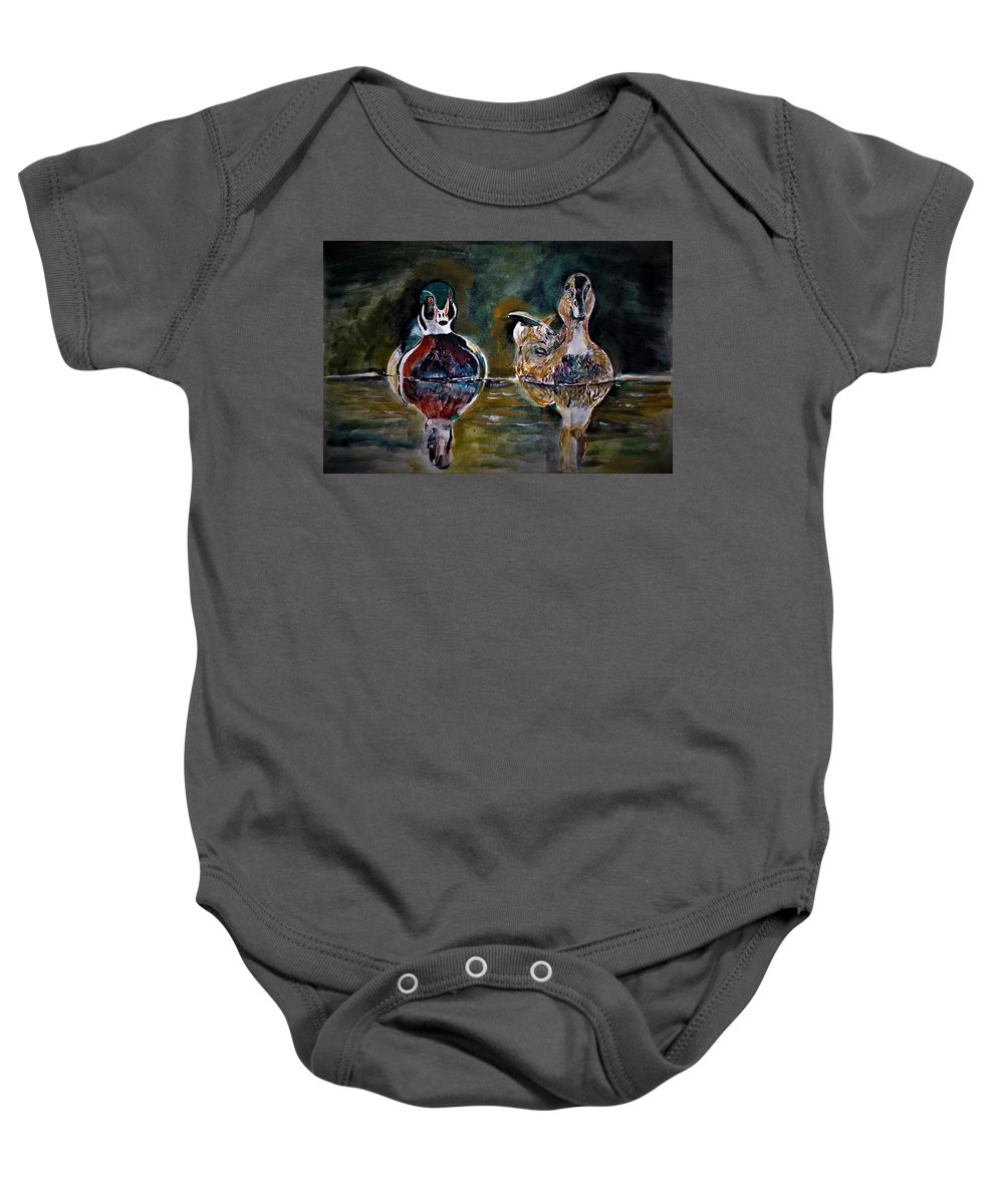 Bird Baby Onesie featuring the painting In A Walk by Khalid Saeed