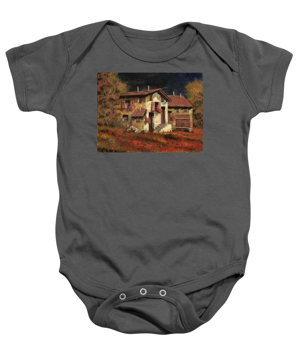 Landscape Baby Onesie featuring the painting In Campagna La Sera by Guido Borelli