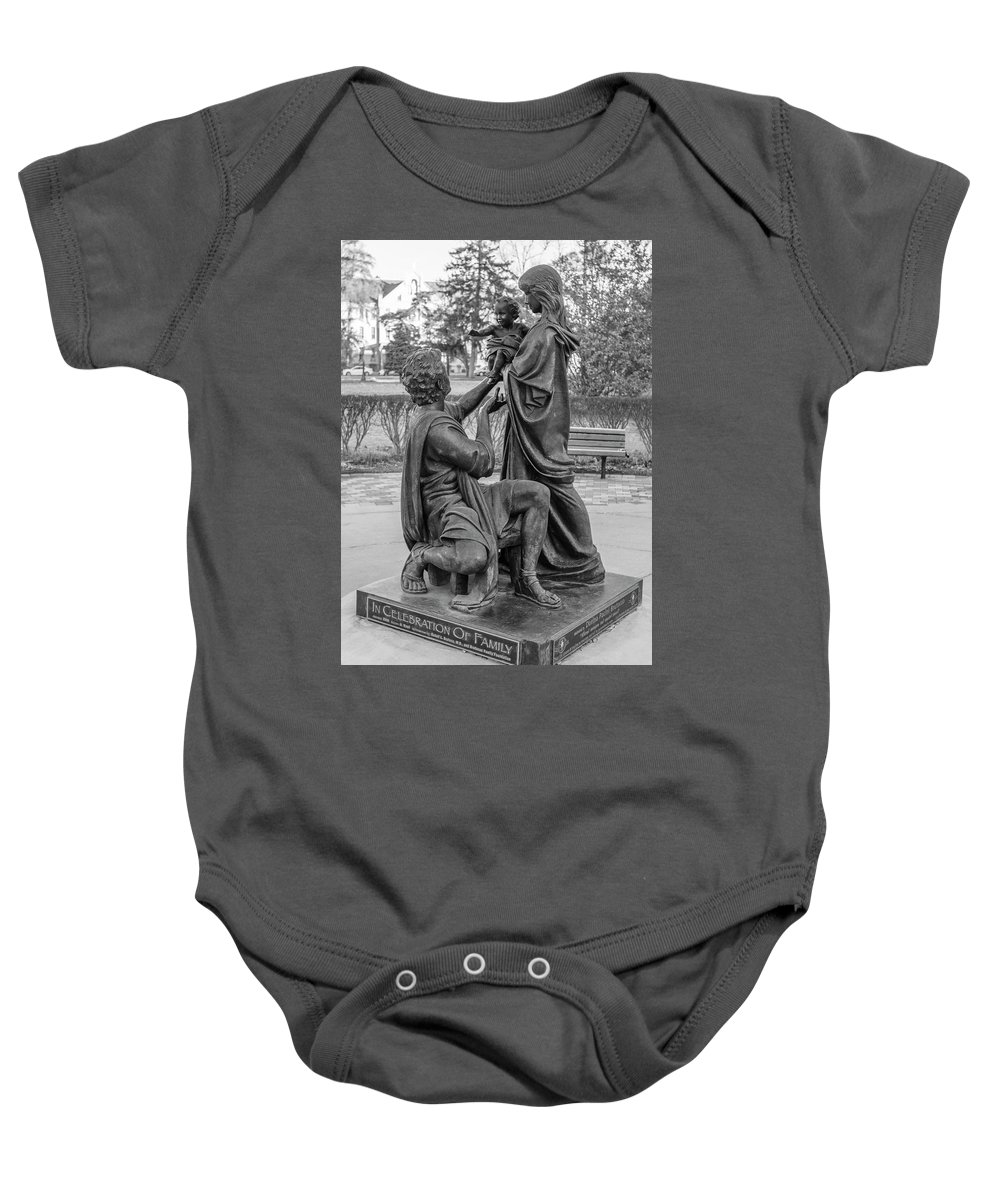 American University Baby Onesie featuring the photograph In Celebration Of Family Black And White by John McGraw