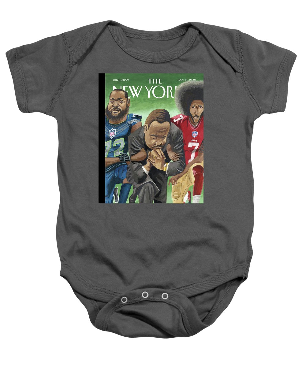 In Creative Battle Baby Onesie featuring the drawing In Creative Battle by Mark Ulriksen