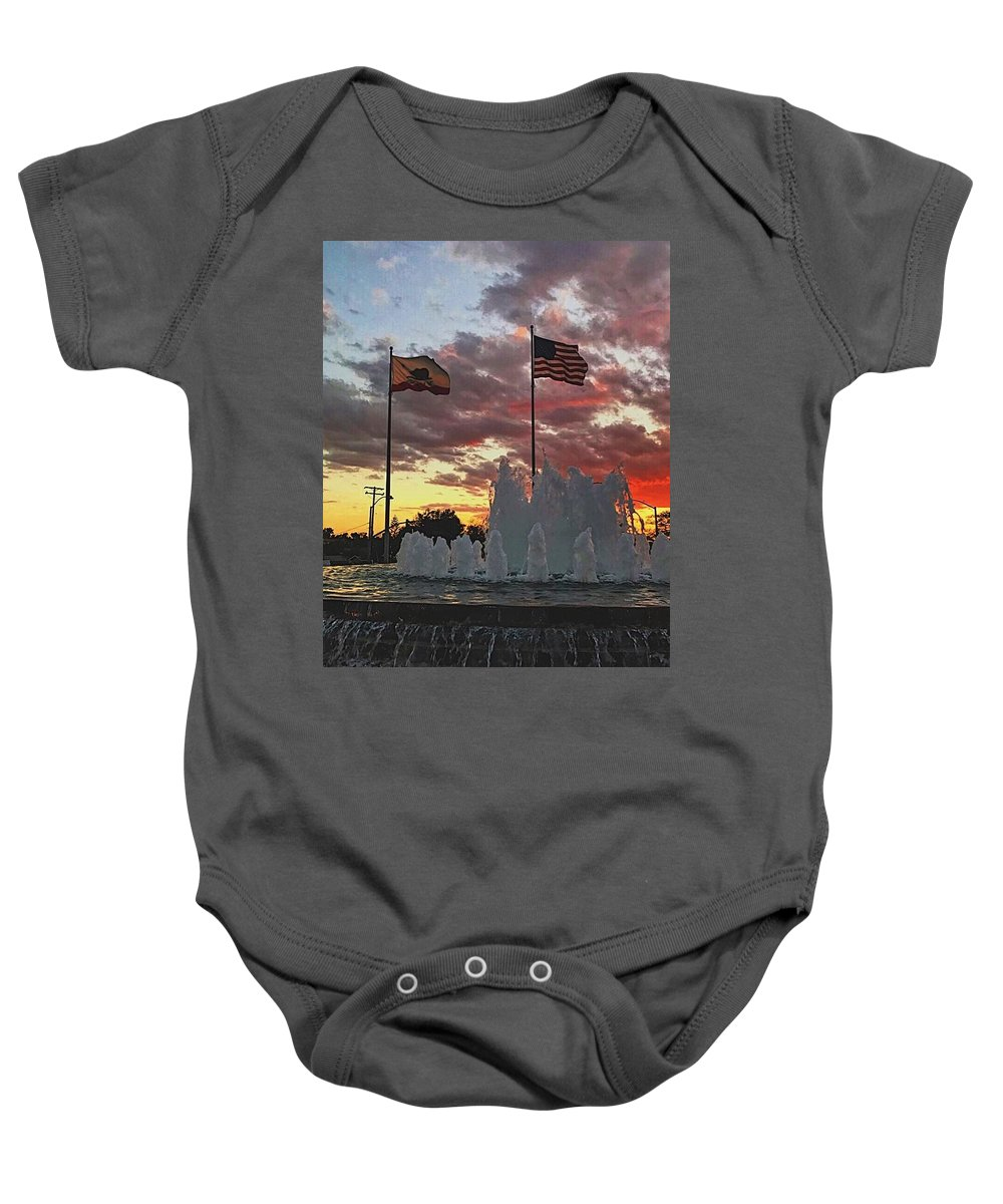 Sunset Baby Onesie featuring the photograph In God We Trust by Bo Cartiglia