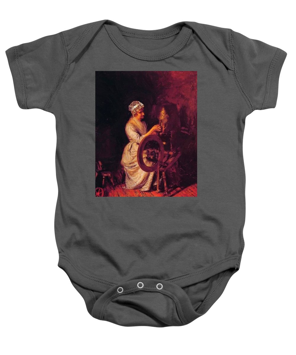 In Baby Onesie featuring the painting In Grandmothers Time 1876 by Eakins Thomas