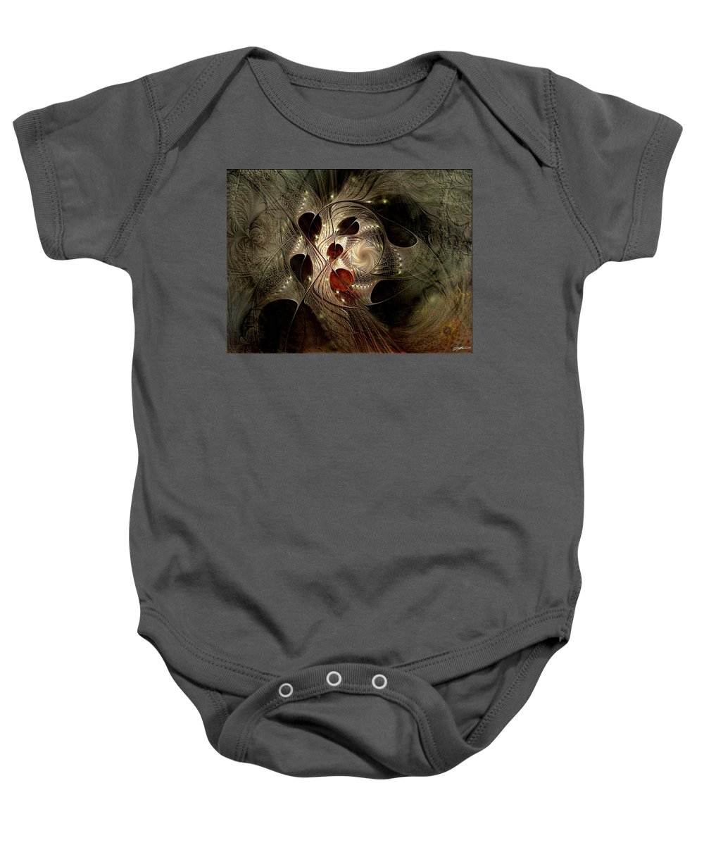 Abstract Baby Onesie featuring the digital art In Search Of The Lost Chord by Casey Kotas