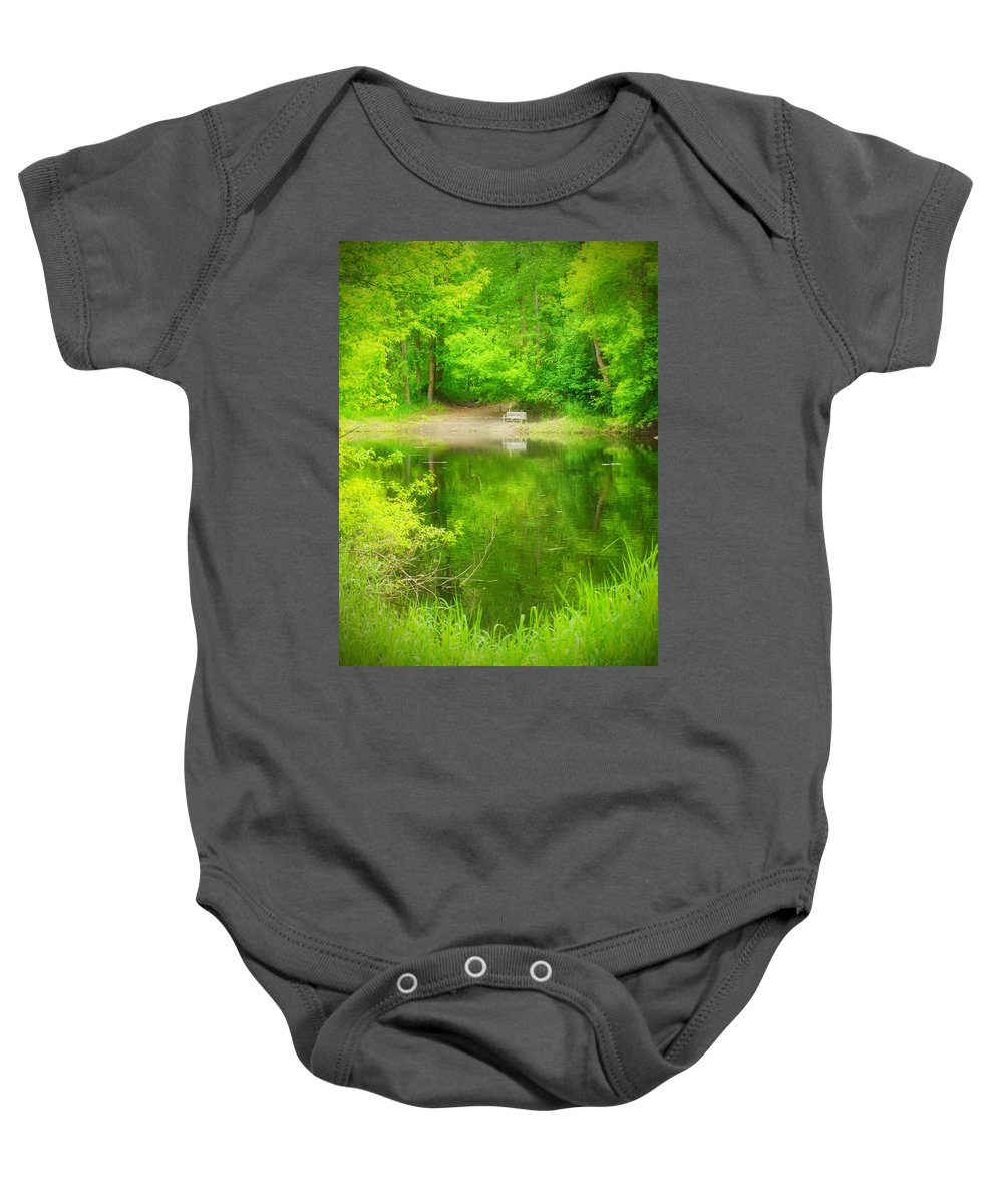 Bench Baby Onesie featuring the photograph In The Green by Tara Turner