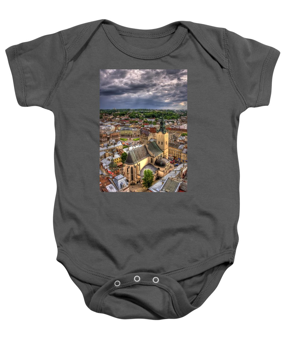 Above Baby Onesie featuring the photograph In The Heart Of The City by Evelina Kremsdorf