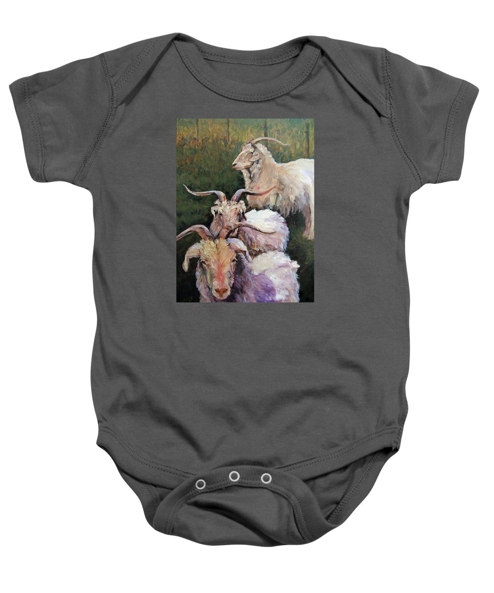 Goats Baby Onesie featuring the painting In The Meadow by Jenifer Cline