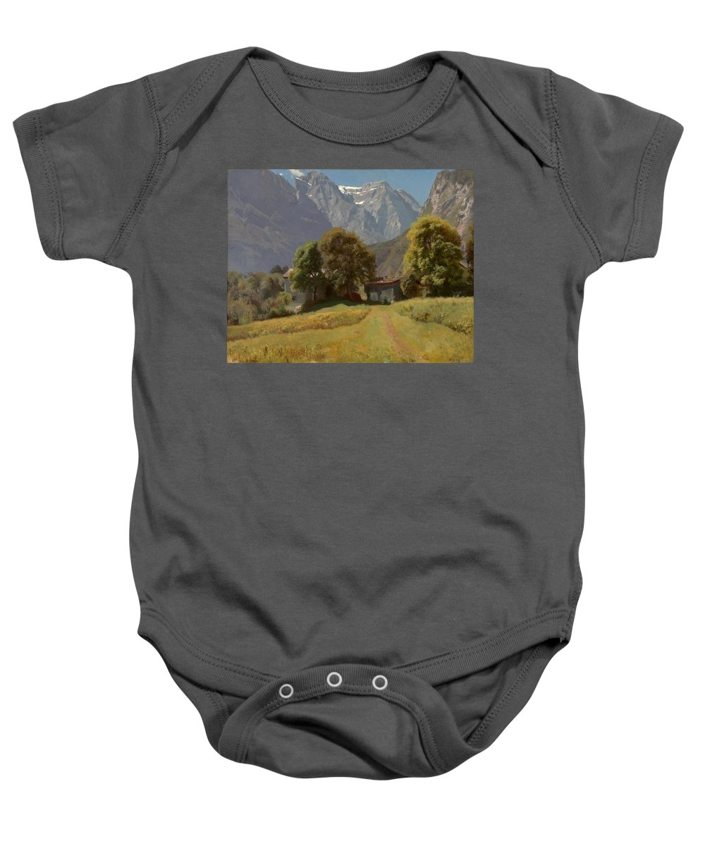 Johann Gottfried Steffan (1815 - 1905) Baby Onesie featuring the painting In The Nesttal by MotionAge Designs