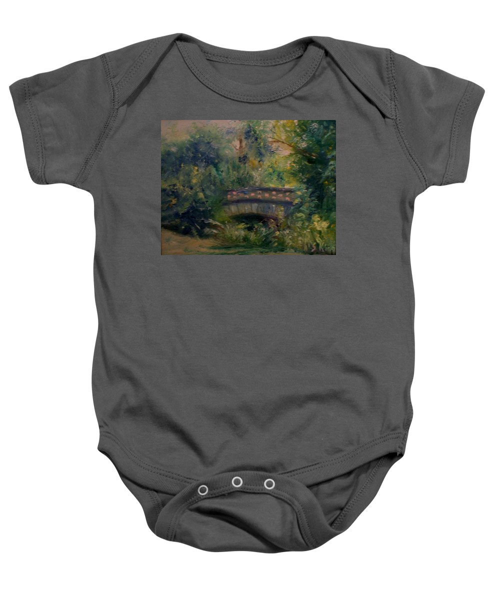 Landscape Baby Onesie featuring the painting In The Park by Stephen King