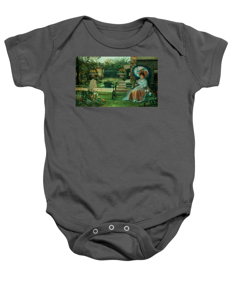 In The Plesaunce Baby Onesie featuring the painting In The Plesaunce by John Atkinson Grimshaw