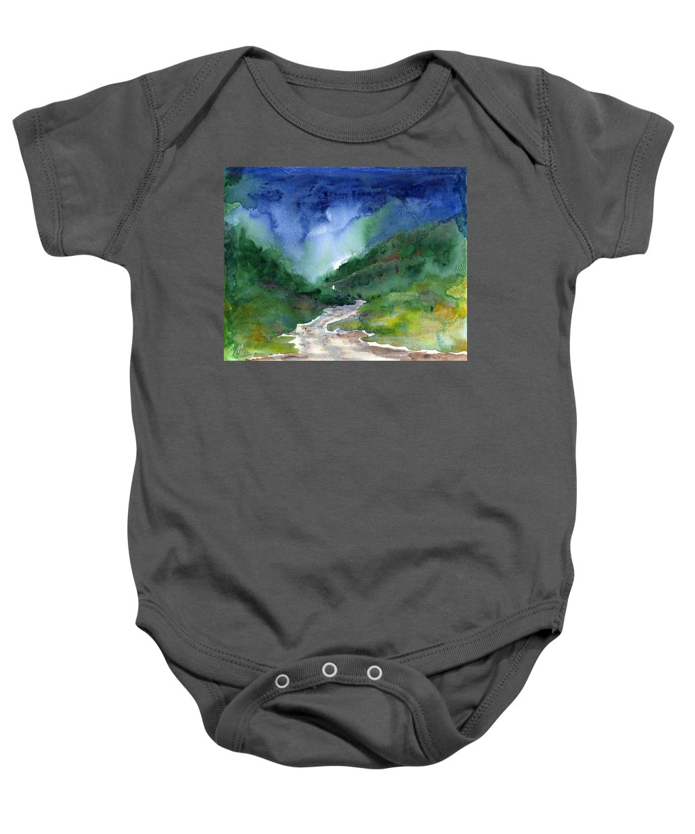 Stormy Baby Onesie featuring the painting In The Woods by Melody Horton Karandjeff