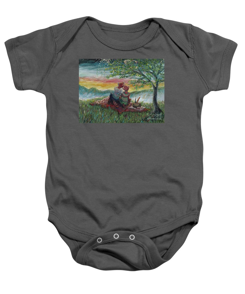 Landscape Baby Onesie featuring the painting Independance Day Pignic by Nadine Rippelmeyer
