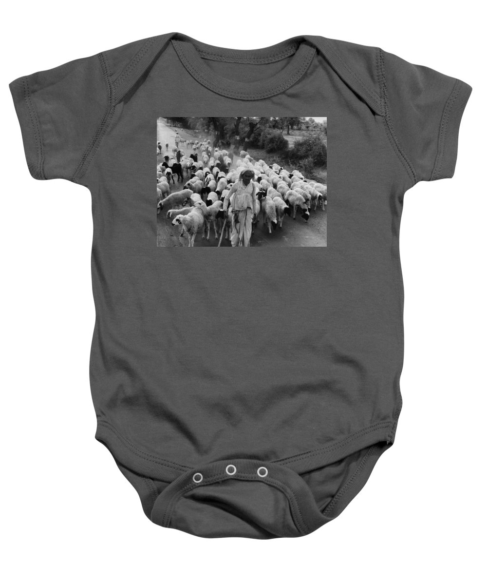 1966 Baby Onesie featuring the photograph India: Shepherd, 1966 by Granger