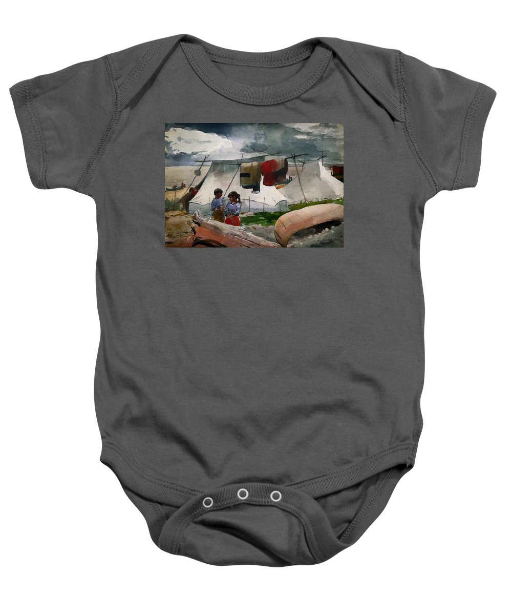 Painting Baby Onesie featuring the painting Indian Camp - Roberval P Q by Mountain Dreams