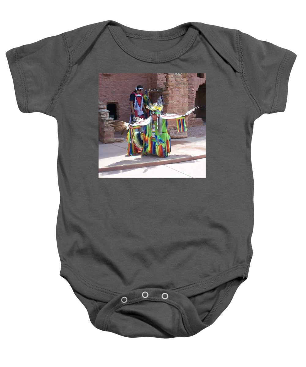 Indian Dancer Baby Onesie featuring the photograph Indian Dancer by Anita Burgermeister