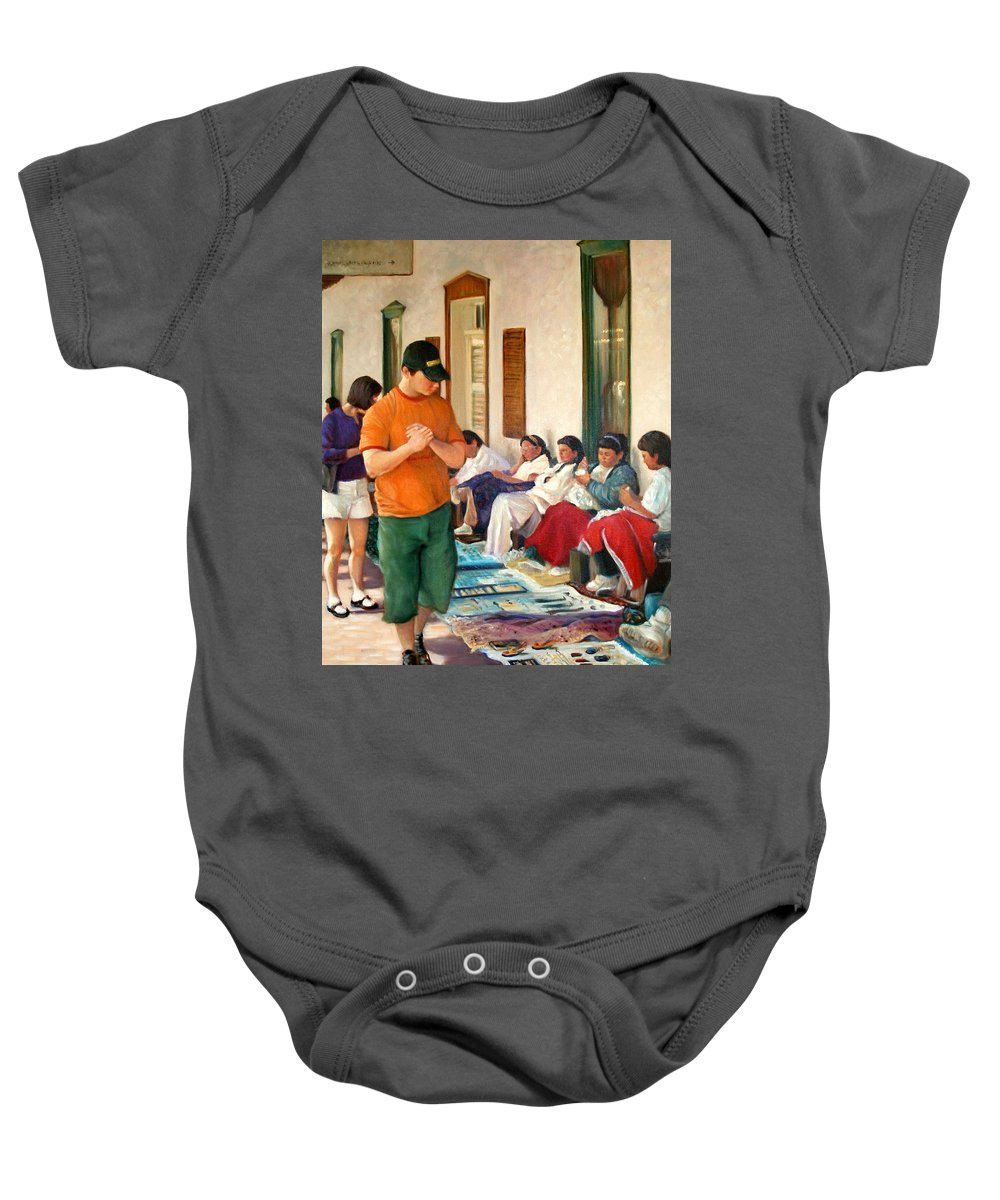 Realism Baby Onesie featuring the painting Indian Market by Donelli DiMaria